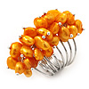 Wide Chunky Orange Freshwater Pearl Ring (Silver Plated Metal)