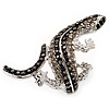 Exotic Swarovski Crystal Lizard Ring In Rhodium Plated Metal