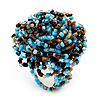 Large Multicoloured Glass Bead Flower Stretch Ring (Light Blue & Brown)