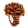 Light Brown Glass Bead Flower Stretch Ring
