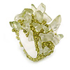 Olive Green Semiprecious Chip Cluster Flex Ring