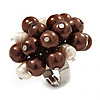 Freshwater Pearl & Bead Cluster Silver Tone Ring (Chocolate & Light Cream) - Adjustable
