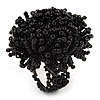 Large Black Glass Bead Flower Stretch Ring
