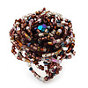 Large Multicoloured Glass Bead Flower Stretch Ring (Cappuccino Brown & Beige)