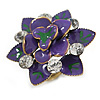 Purple/Green Crystal Enamel Cocktail Ring (Bronze Tone) - 3.5cm Diameter