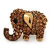 Large Antique Gold Citrine Crystal Elephant Ring - Adjustable