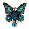 Teal Blue Butterfly With Dangling Tail Ring In Bronze Metal - Adjustable