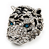 Large Diamante Tiger with Blue Eyes Ring In Rhodium Plating - Adjustable