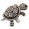 Large Crystal Turtle Ring In Silver Tone Metal