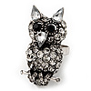 Funky Diamante Owl Ring In Burnt Silver Plating - Adjustable