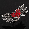 'Wings Of Love' Diamante Ring In Burn Silver Metal - Adjustable