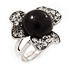 3-Petal Flower Diamante Fancy Ring In Burn Silver Metal