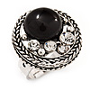 Open Button Shaped Diamante Fancy Ring In Burn Silver