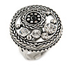 Button Shape Diamante Fancy Ring In Burn Silver Metal