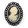 Large Diamante 'Classic Cameo' Cocktail Ring In Black Tone Metal (Adjustable) - 6.5cm Length