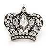 Large Clear Diamante 'Crown' Ring In Burnt Silver Metal - Adjustable (Size 7/9)