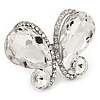Large Clear Crystal 'Butterfly' Ring In Rhodium Plated Metal - Adjustable (Size 7/9)