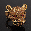 Citrine Swarovski Crystal 'Leopard' Stretch Ring In Burn Gold Plating - 7/9 Size