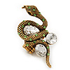 Stunning Swarovski Crystal Snake Stretch Ring In Burn Gold Metal (6cm Length)- 7/9 Size