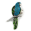 Exotic Green/ Turquoise Coloured Crystal 'Parrot' Flex Ring In Burnt Silver Plating - 7.5cm Length (Size 7/8)