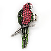 Exotic Pink/Green Crystal 'Parrot' Flex Ring In Burnt Silver Plating - 7.5cm Length (Size 7/8)