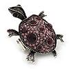 Purple Crystal 'Turtle' Flex Ring In Burn Silver Metal - 5.5cm Length - (Size 7/9)