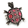 Pink Crystal 'Turtle' Flex Ring In Burn Silver Metal - 5.5cm Length - (Size 7/9)