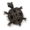 Black Crystal 'Turtle' Flex Ring In Burn Silver Metal - 5.5cm Length - (Size 7/9)