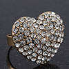 Delicate Clear Crystal 'Heart' Ring In Burn Gold Metal - Adjustable (Size 7/8)