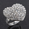 Delicate Clear Crystal 'Heart' Ring In Silver Plating - Adjustable (Size 7/8)