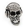 Clear Crystal 'Skull Wearing Headphones' Ring In Burnt Silver Metal - Adjustable - 3cm Length