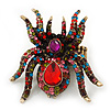 Oversized Multicoloured Swarovski Crystal Spider Stretch Cocktail Ring In Antique Gold Plating