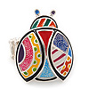 Multicoloured Enamel 'Lady Bug' Stretch Ring In Rhodium Plating - Adjustable
