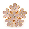 Gold Plated 'Damsel Daisies' Crystal Set Enamelled Stretch Ring (Pastel Pink) -  Adjustable size 7/8