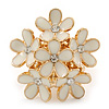 Gold Plated 'Damsel Daisies' Crystal Set Enamelled Stretch Ring (Light Cream) -  Adjustable size 7/8