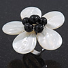 Mother of Pearl/ Black Bead 'Flower' Shell Ring In Silver Plating - Adjustable (Size 8/9) - 4.5cm Diameter