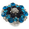Silver Tone Dark Blue/ Clear/ Turquoise Coloured Diamante Cocktail Ring (Adjustable Size 7/8) - 3cm Diameter