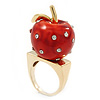 'Berry Irresistible' Crystal and Resin Apple Ring In Gold Plating - Size 8