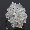 Transparent White Cluster Ring In Silver Plating - Adjustable (Size 8/9)