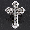 'Fleur de Lis' Crystal Set Statement Cross Stretch Ring In Vintage Silver Finish - 6cm Length - Adjustable size 7/8