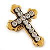 'Fleur de Lis' Crystal Set Statement Cross Stretch Ring In Vintage Gold Finish - 6cm Length - Adjustable size 7/8