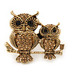 Burn Gold Light Amber Coloured Crystal 'Double Owl' Double Finger Ring - Adjustbable - 4.5cm Length