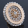 Statement Clear Austrian Crystal Oval Flex Ring In Gold Tone - 55mm Across - Size7/8