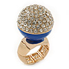 Statement Pave-Set Crystal, Blue Enamel 'Ball' Flex Ring In Gold Plating - 25mm Across - Size 7/8
