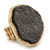 Two Tone Off-Round, Textured Flex Ring (Gold Tone/ Coal Colour Tone) - 37mm Across - Size 7/8