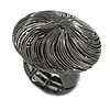 Large Gun Metal Woven Dome Statement Stretch Ring - 40mm Diameter - Size 7/8 Expandable