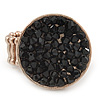 Gold Tone, Black Glass Bead, Coin Shape Flex Ring - 30mm Across - Size 7/8