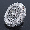 Statement Clear Austrian Crystal Oval Flex Ring In Silver Tone - 55mm Across - Size7/8