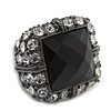Faceted Black Glass Square Stone and Diamante Gun Metal Stretch Ring - 25mm Length - Expandable Size 7/8