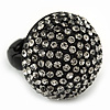 Matte Black 'Dome' Ring with Clear Crystals - 25mm Diameter - Size 7/8 Expandable